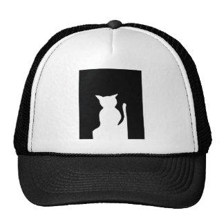 Cat - Black and White Cat Silhouette Art Decor Trucker Hat