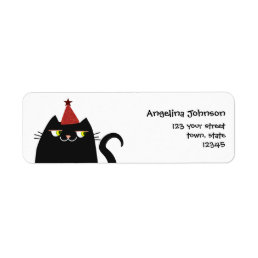 Cat Black Cute Fat Cartoon Funny Party Modern Cool Label