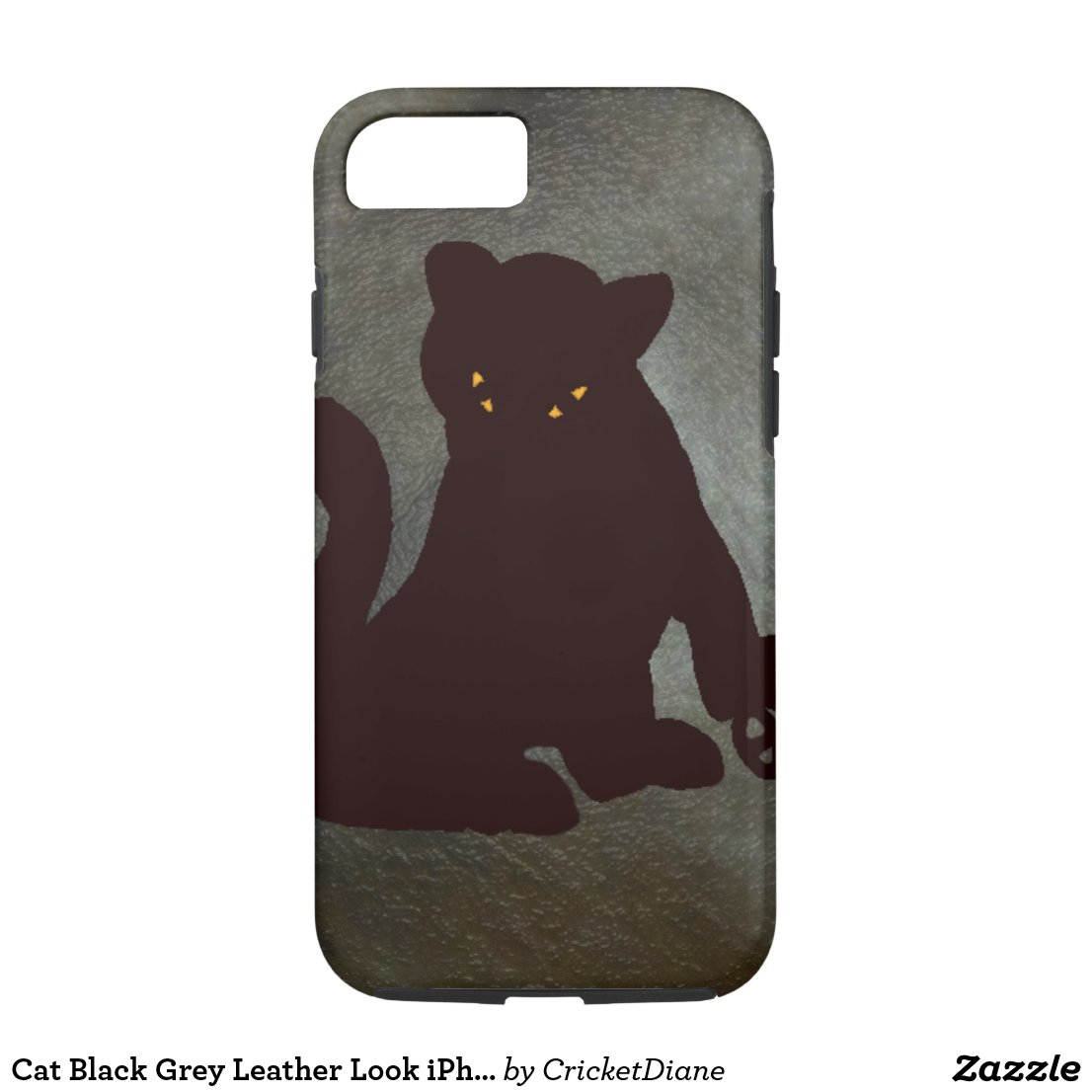 Cat Black Grey Leather Look iPhone Case