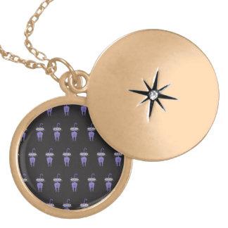 cat black round locket necklace