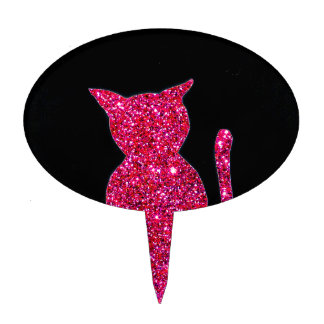 Cat Black Pink Sparkly Cat Silhouette Cake Decor Cake Topper