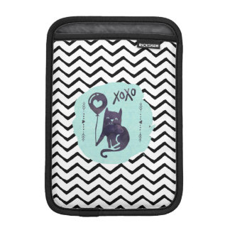 Cat Black & White Chevron Zigzag Stripe Cute Kitty iPad Mini Sleeve