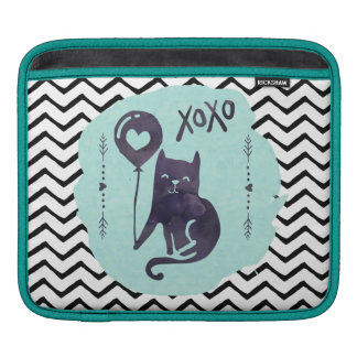 Cat Black & White Chevron Zigzag Stripe Cute Kitty Sleeve For iPads