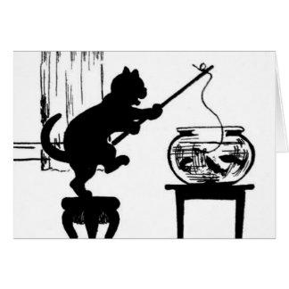 Cat Black/White Silhouette Fishing in Fish Bowl Greeting Card