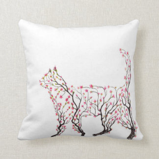 Cat Blossom Sketch Throw Pillow