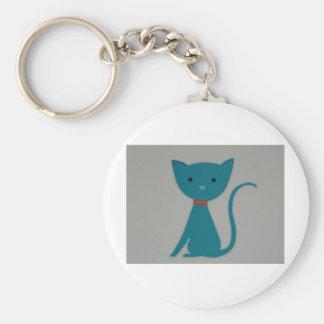 cat,blue cat basic round button keychain