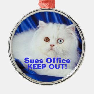 Cat Blue Eye Brown Eye Keep Out Door Hanger Ornam Metal Ornament