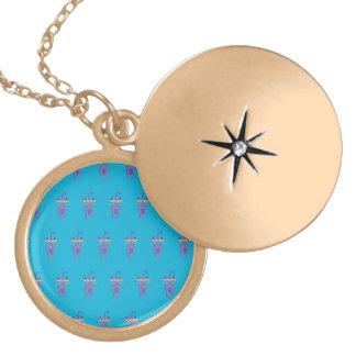 cat blue round locket necklace