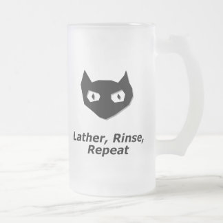 Cat Boo Lather Rinse Repeat Frosted Glass Beer Mug