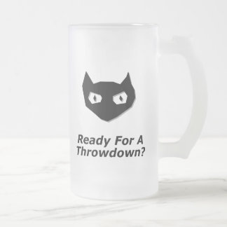 Cat Boo Ready For A Throwdown 16 Oz Frosted Glass Beer Mug