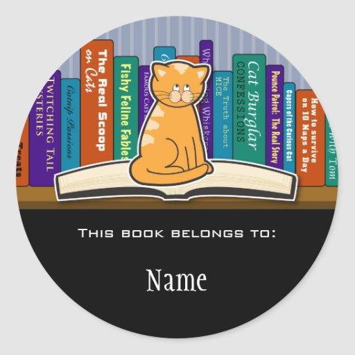 Cat Bookplate Sticker