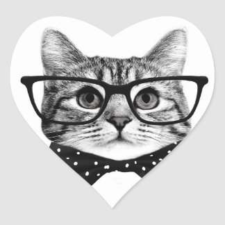 cat bow tie - Glasses cat - glass cat Heart Sticker