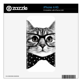 cat bow tie - Glasses cat - glass cat Skins For The iPhone 4S