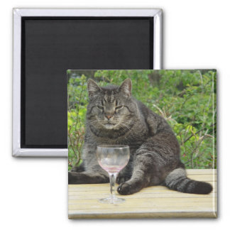 Cat 'Bram' on the table with a wine glass Magnet