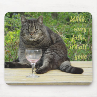 Cat 'Bram' on the table with a wine glass Mouse Pad