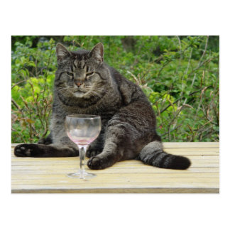 Cat 'Bram' on the table with a wine glass Postcard