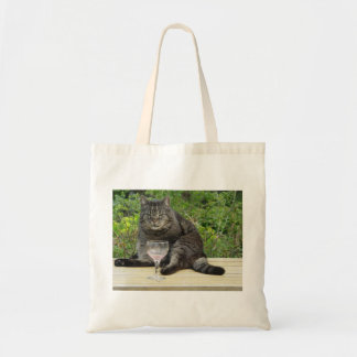 Cat 'Bram' on the table with a wine glass Tote Bag