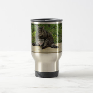 Cat 'Bram' on the table with a wine glass Travel Mug