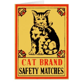 Cat Brand Safety Matches Label Greeting Card