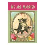 Cat Bride and Groom Wedding Announcement