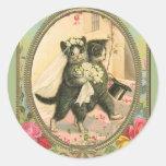 Cat Bride and Groom Wedding Day Classic Round Sticker