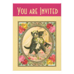 Cat Bride and Groom yellow variant invitation