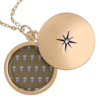 cat brown round locket necklace