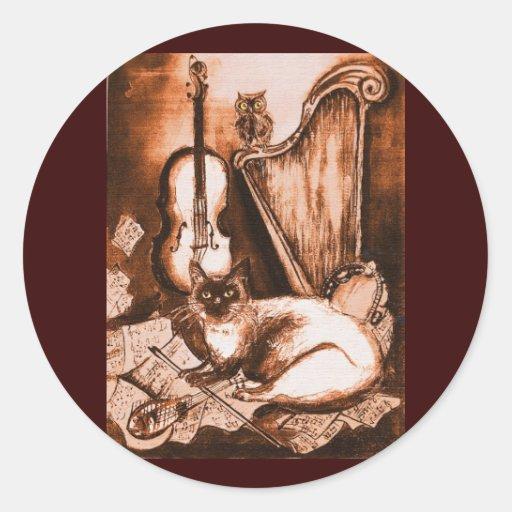 CAT, Brown y blanco MUSICALES Pegatina Redonda