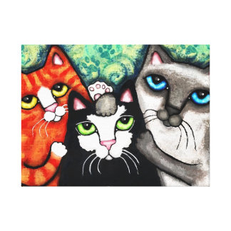 Cat Buddies Art Canvas Gallery Wrapped Print Canvas Print