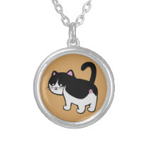 cat butt cow silver plated necklace
