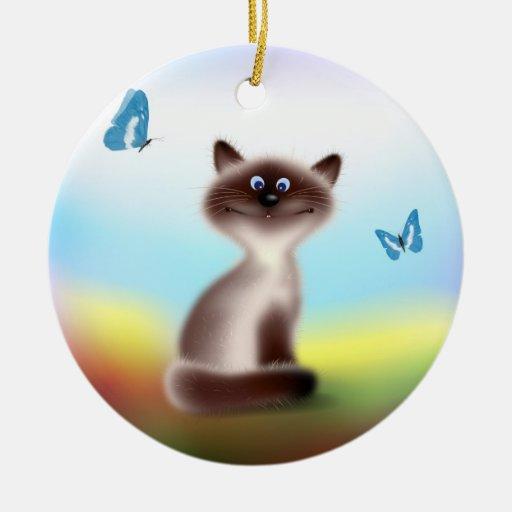 Cat & Butterflies Ceramic Ornament