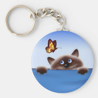 Cat & Butterfly Basic Round Button Keychain
