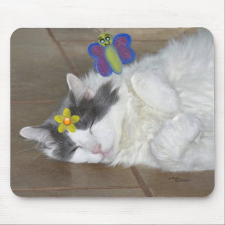 Cat butterfly flower Mousepad
