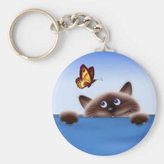 Cat & Butterfly Keychain