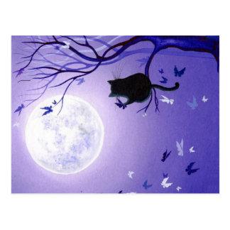 Cat Butterfly Swirl Postcard