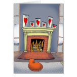 Cat by the fire Valentine's Day card