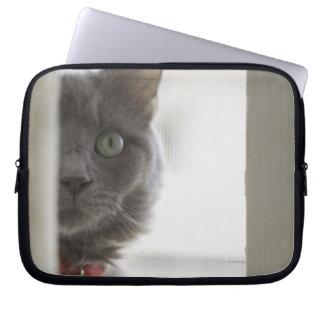 Cat by window laptop sleeve