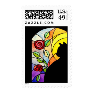 Cat by Window with Roses Stamps
