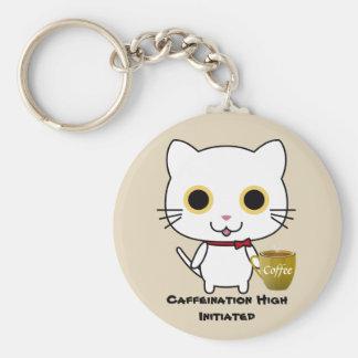 Cat Caffeine High Button Keychain