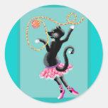 cat can dance classic round sticker