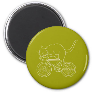 Cat car - cat sprint- C (white) 2 Inch Round Magnet