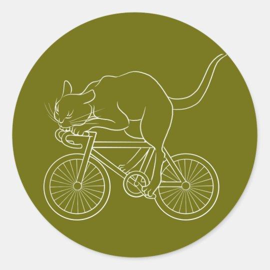 Cat car - cat sprint- C (white) Classic Round Sticker