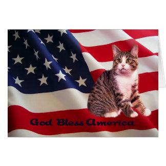 Cat Card God Bless America