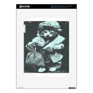cat carrying a bag wearing an outfit and a hat iPad 3 skin