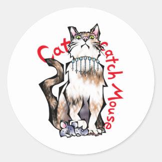 Cat catch Mouse! Classic Round Sticker