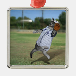 Cat Catcher in the Outfield! Metal Ornament