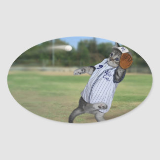 Cat Catcher in the Outfield! Oval Sticker