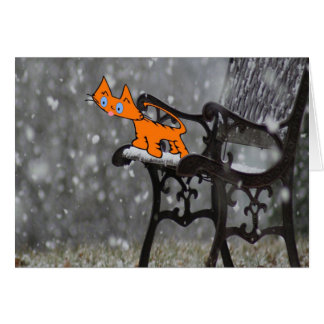 Cat Catches Snow Flakes O His Tong Card