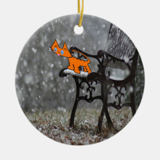Cat Catches Snow Flakes O His Tong Ceramic Ornament