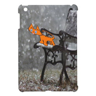 Cat Catches Snow Flakes O His Tong iPad Mini Covers